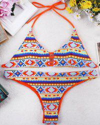 Sweet Halter Geometrical Print Bikini Set For Women