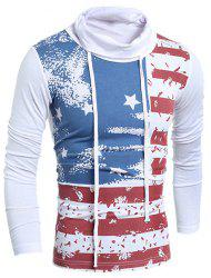 Turtle Neck Flag Printed Drawstring Long Sleeve T-Shirt For Men