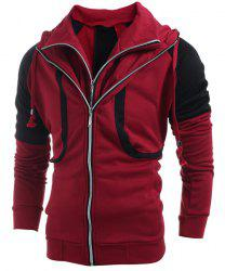 Hooded Color Block Splicing Double Zipper Design Faux Twinset Long Sleeve Men's Hoodie - RED