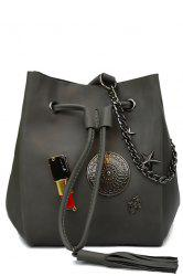 Lipstick Badge Chain Crossbody Drawstring Bag