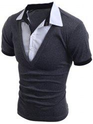 Turn-Down Collar Faux Twinset Short Sleeve Men's T-Shirt
