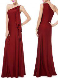 Noble One-Shoulder Solid Color Rhinestone Design Pleated Maxi Dress For Women