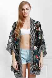 Stylish Open Front Wide Sleeve Floral Print Women's Cover-Up - BLACK