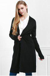 Open Front Pocket Long Cardigan