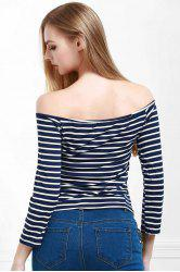 Stylish Off The Shoulder Striped Seamless Women's Top