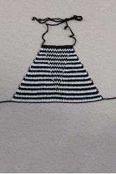 Stylish Halter Striped Crocheted Women's Tank Top