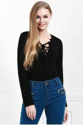 Stylish Lucky Lace Up Women's Top - BLACK S