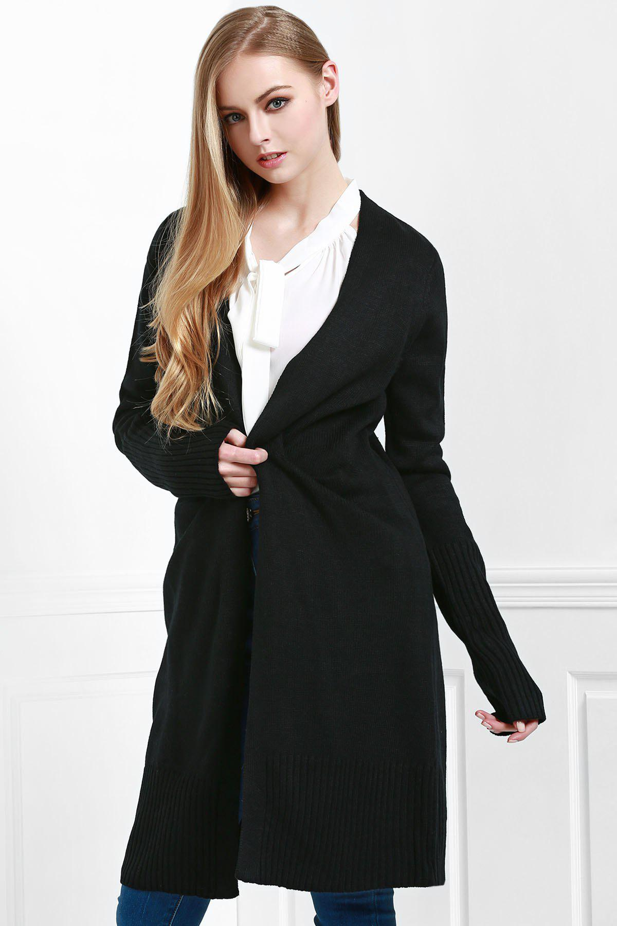 Fancy Open Front Pocket Long Cardigan