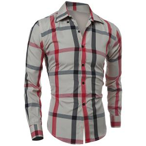 Classic Color Block Plaid Pattern Slimming Turn-down Collar Long Sleeves Men's Shirt