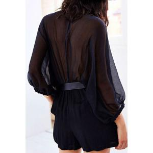 Alluring Deep V Neck Batwing Sleeve See-Through Women's Romper -