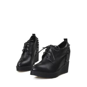 Stylish Rivet and Lace-Up Design Wedge Shoes For Women -