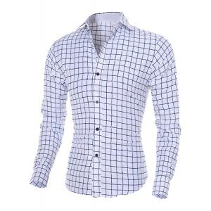 Turn-Down Collar Long Sleeve Stylish Flower Print and Checked Shirt For Men
