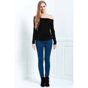 Stylish Slash Neck Long Sleeve Cassiopia Women's Tee -