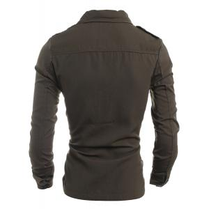 Turn-Down Collar Pockets Embellished Long Sleeve Jacket For Men -