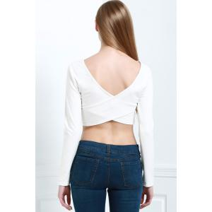 Sexy Style Scoop Neck Back Cross Solid Color Long Sleeve Crop Top For Women -