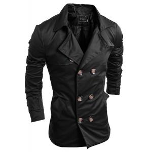 Turn-Down Collar Double-Breasted Long Sleeve Trench Coat For Men - Black - Xl