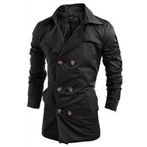 Turn-Down Collar Double-Breasted Long Sleeve Trench Coat For Men -