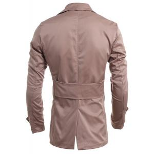 Turn-Down Collar Double-Breasted Long Sleeve Trench Coat For Men - DARK KHAKI M
