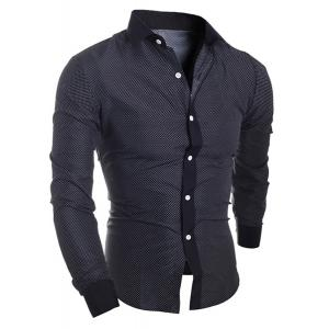 Turn-Down Collar Long Sleeve Splicing Design Polka Dot Shirt For Men