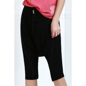 Drawstring Cropped Baggy Pants - BLACK M