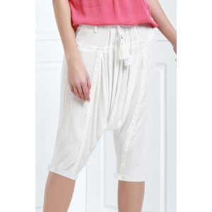 Drawstring Cropped Baggy Pants