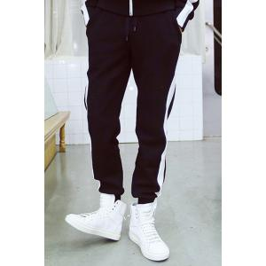 Casual Black-White Stripe Space Cotton Sweat Pants For Men -