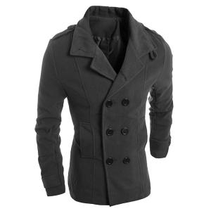 Turn-Down Collar Solid Color Epaulet Design Long Sleeve Men's Woolen Blend Coat - Deep Gray - L