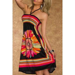 Halter Floral A Line Summer Dress - Black - 2xl