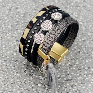 Multilayered Faux Leather Rhinestone Chunky Tassel Bracelet
