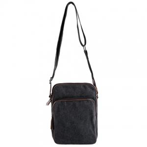 Casual Denim and Zips Design Messenger Bag For Men - Black