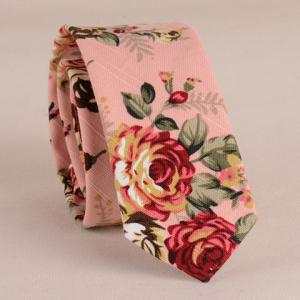 Stylish Flower Pattern 5CM Width Pink Tie For Men - Pink - S