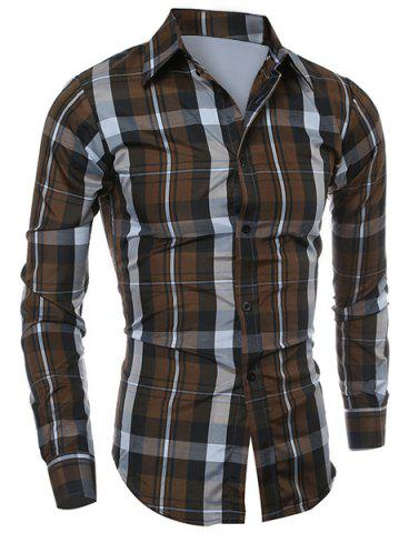 Casual Turn-down Collar Color Block Checked Print Slimming Men's Long Sleeves Shirt - Coffee - Xl