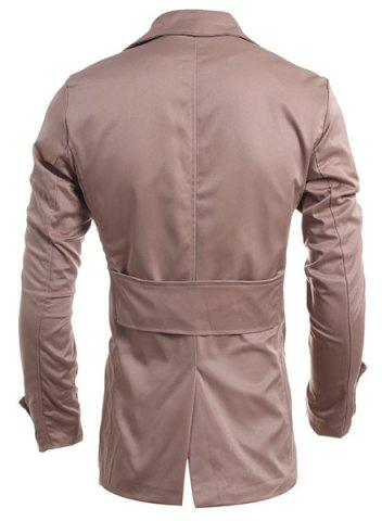 Latest Turn-Down Collar Double-Breasted Long Sleeve Trench Coat For Men - M DARK KHAKI Mobile