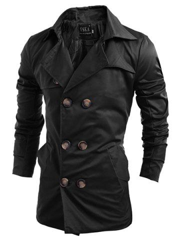 Chic Turn-Down Collar Double-Breasted Long Sleeve Trench Coat For Men - XL BLACK Mobile