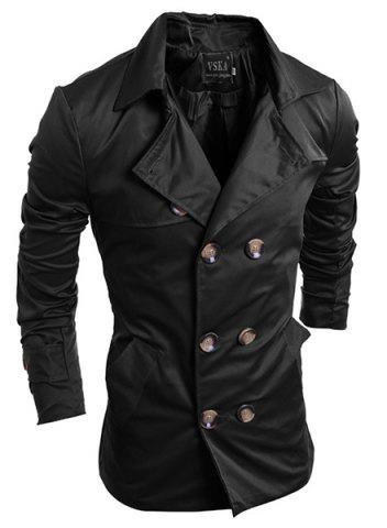 Outfit Turn-Down Collar Double-Breasted Long Sleeve Trench Coat For Men