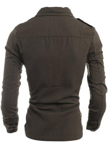 Trendy Turn-Down Collar Pockets Embellished Long Sleeve Jacket For Men - XL ARMY GREEN Mobile