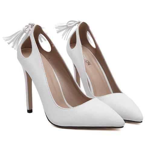 Online Sweet Tassels and PU Leather Design Pumps For Women - 39 WHITE Mobile