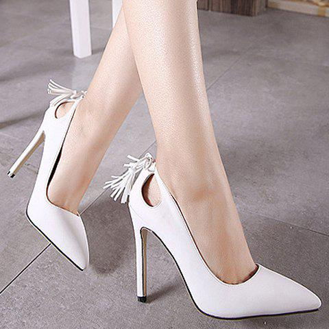 Outfit Sweet Tassels and PU Leather Design Pumps For Women - 39 WHITE Mobile