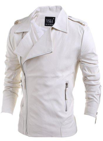 New Turn-Down Collar Zipper PU-Leather Long Sleeve Jacket For Men WHITE L