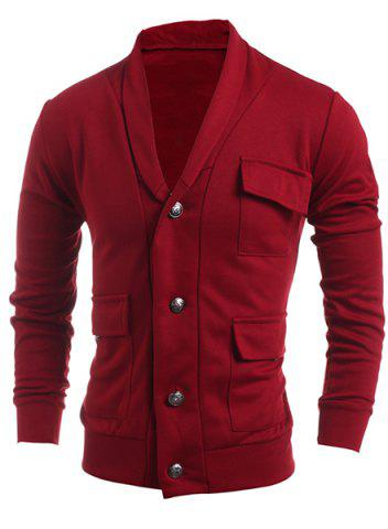 Outfit Turn-Down Collar Single Breasted Pockets Embellished Long Sleeve Jacket For Men - 2XL RED Mobile