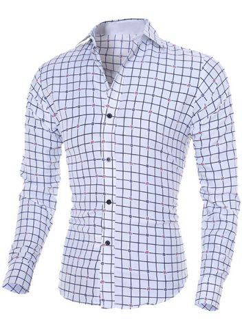 Unique Turn-Down Collar Long Sleeve Stylish Flower Print and Checked Shirt For Men WHITE M