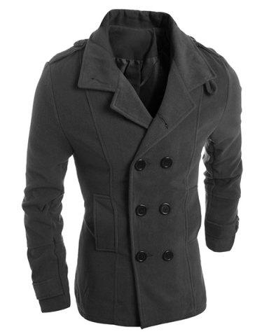 Buy Turn-Down Collar Solid Color Epaulet Design Long Sleeve Men's Woolen Blend Coat