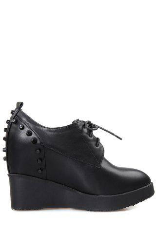 Trendy Stylish Rivet and Lace-Up Design Wedge Shoes For Women