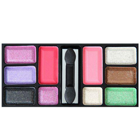 Image of 10 Colours Dry and Wet Dual Use Diamond Eye Shadow Palette with Mirror and Brush