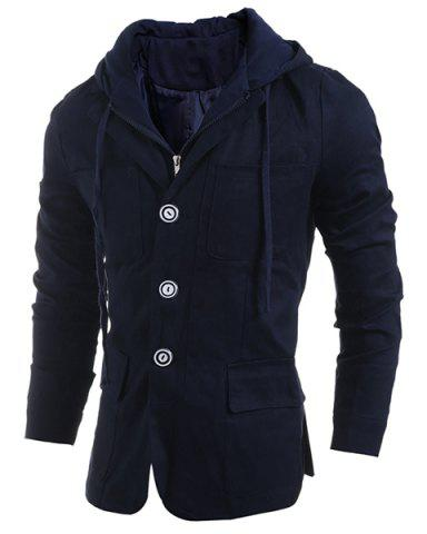 Chic Drawstring Hooded Patch Pocket Faux Twinset Long Sleeve Men's Jacket