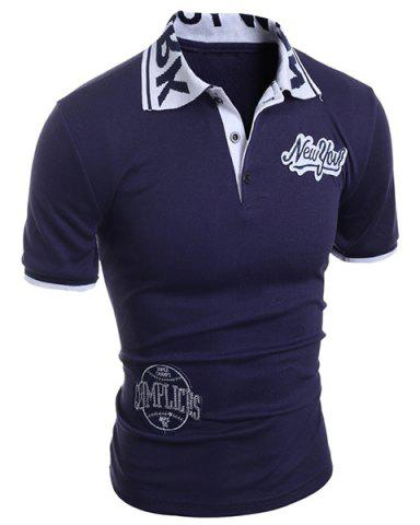 Shops Turn-Down Collar Letters Jacquard Appllique Embellished Short Sleeve Men's Polo-Shirt