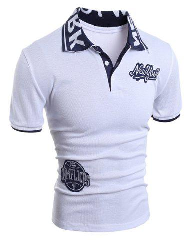 Turn-Down Collar Letters Jacquard Appllique Embellished Short Sleeve Men's Polo-Shirt - White - 2xl