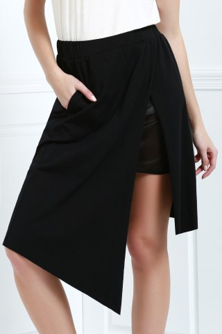 Hot Asymmetric High Waisted A Line Skirt BLACK L