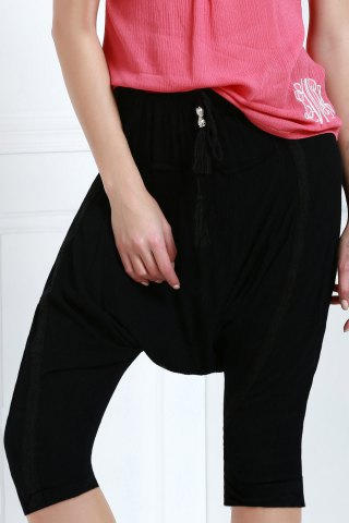 New Drawstring Cropped Baggy Pants BLACK S
