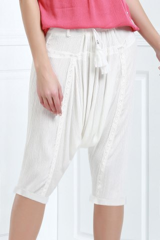 Affordable Drawstring Cropped Baggy Pants WHITE L